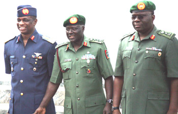 New Chief of Defence Staff Air Chief Marshal Paul Dike (left) with former Chiefs of Defence Staff Generals Agwai and Azazi.