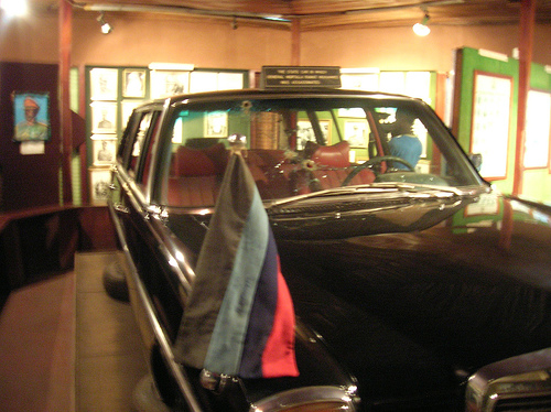 The bullet riddled Mercedez Benz car in which Gen Murtala Mohammed was murdered on Friday February 13, 1976.