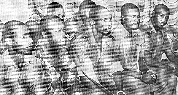 The coup plotters at their trial in 1990: L to R - Capt Harley Empere, Major Gideon Orkar, Capt Perebo Dakolo, Lt Cyril Ozoalor, Lt Nicholas Odeh